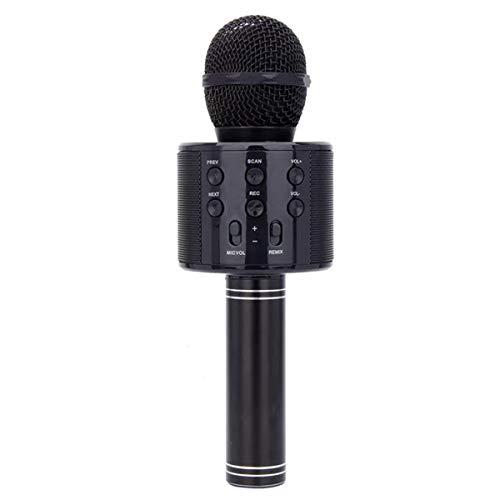 HaiQianXin Drahtlose Bluetooth Karaoke-Mikrofon Handheld USB wiederaufladbare KTV Home Mikrofon Singen Lautsprecher Player Party Geburtstag Professionelle Mikrofone für iOS/Android (Color : Black)