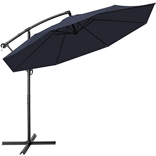 tillvex Sonnenschirm Navy-Blau Ø 300 cm mit Kurbel   Ampelschirm mit Ständer   Gartenschirm UV-Schutz Aluminium   Kurbelschirm Marktschirm wasserdicht