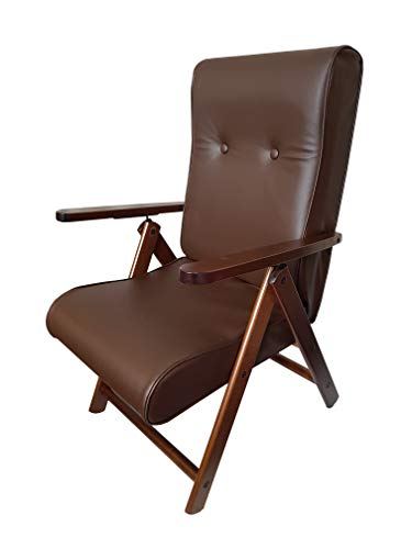 Totò Piccinni Poltrona Sedia Sdraio MOLISANA Lusso in Legno reclinabile 4 Posizioni (Ecopelle Testa di Moro)