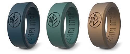 Anillo de bodas Maui Rings Best, de silicona, con estilo sólido, para hombre, anillo de matrimonio y anillo de compromiso, de goma, Combo 3, 64 /US:11 / UK:V-W(20.57mm)