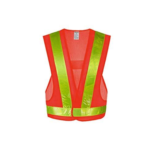 ZNZN V-Cuello Traje Reflectante, Chaleco Reflectante de Seguridad con reflexivo Tiras Conveniente for la Ropa al Aire Libre Ligero y Transpirable Chalecos de Seguridad (Color : Orange Red)