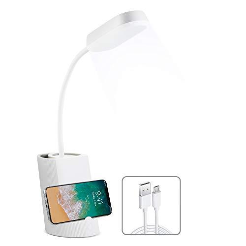 VADIV Lámpara de Escritorio LED con Portalápices y Soporte de Móvil Lámpara de Mesa USB de Carga Brillo de 3 Niveles Control Táctil Plegable Protección para Los Ojos - Blanco