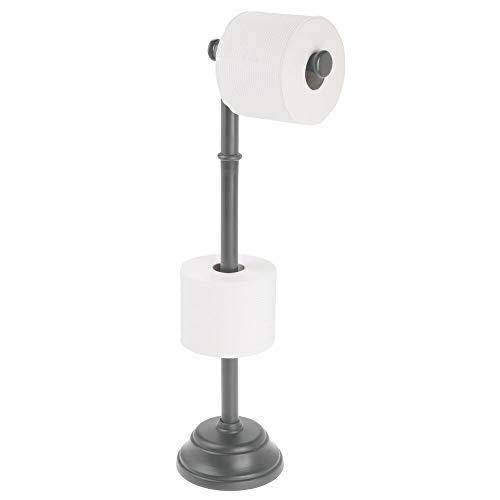mDesign Portarrollos de pie con capacidad para 3 rollos de papel higiénico – Soporte para papel higiénico de diseño atemporal – Portarrollos de baño para rollos grandes – gris