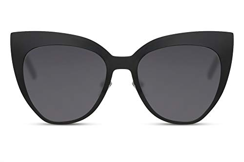 Cheapass Gafas de Sol Grandes Ojo de Gato Metálicas para Mujeres Protección UV400 100%