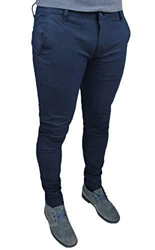 Pantaloni Uomo sartoriali Blu Micro Fantasia Casual Elegante Slim Fit Invernale (42, Blu Scuro)