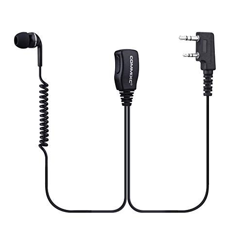 COMMIXC (2 Pack) Walkie Talkie Headset, 3.5mm/2.5mm 2-Pin in-Ear Walkie Talkie Earpiece with PTT Mic, Compatible with Kenwood Baofeng Two-Way Radios
