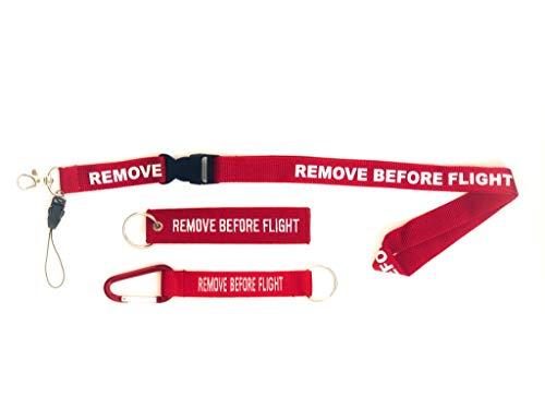 propio Pack con Lanyard + Mosquetón + Remove Rojo con el texto REMOVE BEFORE FLIGHT