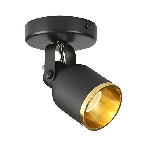 Aisilan Black and Golden Led Dimmable Ceiling Spotlight Adjustable 90 Degrees Monopoint Spot Light Warm White 7W for Foyer Hallway Cabinet Showcase Gallery MSD127-3K-7W-DIM