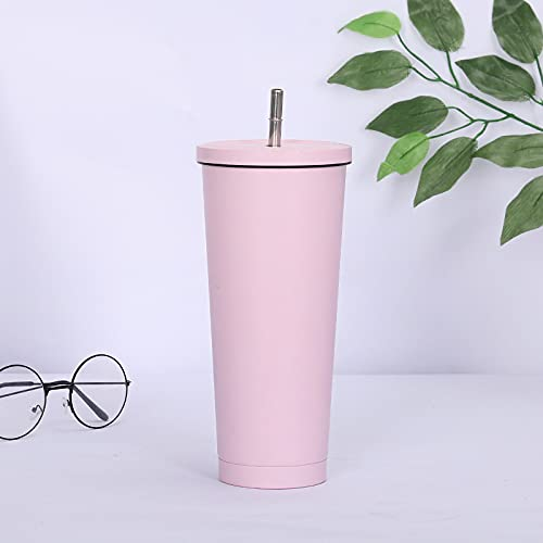 Taza de paja nueva venta caliente 750 ml 304 de acero inoxidable de gran capacidad al vacío, color sólido taza de café taza (capacidad: 750 ml, color: rosa)