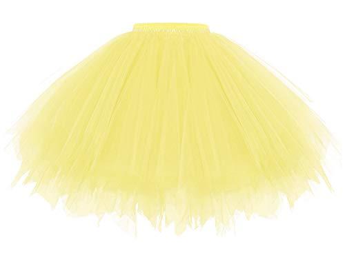 Gardenwed 50er Vintage Tüllrock Damen Tütü Bunter Petticoat Kurz Tutu Karneval Kostüm Rockabilly Kleider Mehrfarbig Bubble Tanzkleid Rock Gelb Tüllrock Yellow L
