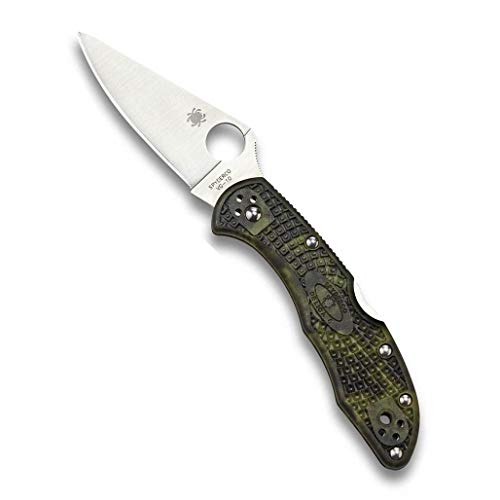 "Spyderco Delica 4 Lightweight Signature Folding Knife with 2.90"" Flat-Ground Steel Blade and Zome Green FRN Handle - PlainEdge Grind - C11ZFPGR"