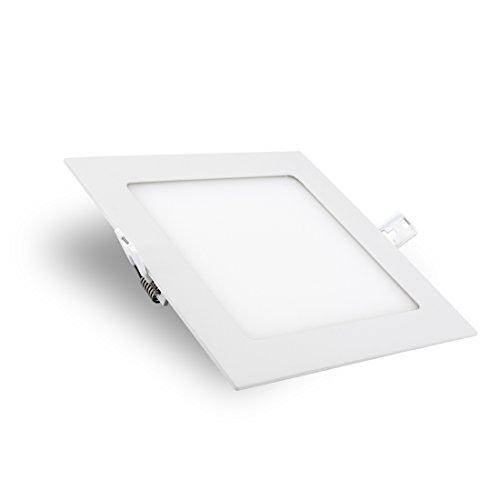 Viereckiges LED Einbau Deckenpanel (172 x 172 mm) mit IP44 Schutz, warmweiß, 12W, 230V inklusive Trafo - flache Einbautiefe