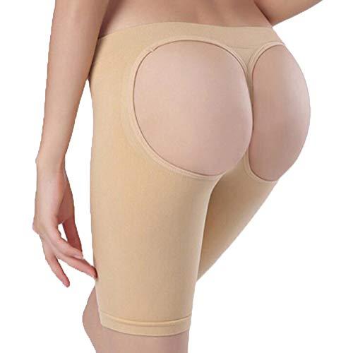 ZZBB Hip Enhancer Damen Butt Lifter Nylon Sexy Exposure PP Flach Winkel KöRper Formbare UnterwäSche Hip/Fest/DüNner Oberschenkel Nahtlos Atmungsaktive Knickers (XS-3XL),Skintone,L