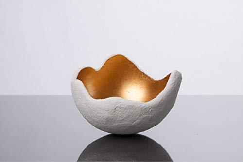 Lichtschale gold - S (15cm) - Beton weiss - Unikat handmade - Geburtstagsgeschenk - Einzigartiges Geschenk - Gartendeko - Muttertagsgeschenk - Geschenkidee - Geschenk für die Frau - Hochzeitsgeschenk