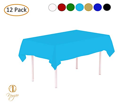 NORZEE 12-Pack Disposable Plastic Tablecloths, 54' x 108' Plastic Table Cloth, Rectangle Table Cover (Baby Blue)