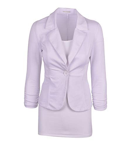 Aulin Collection Women's Casual Work Solid Color Knit Blazer White Large