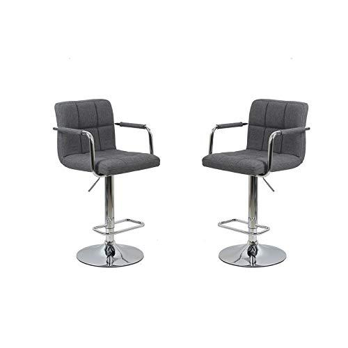 Best Master Furniture Linen Blend Adjustable Swivel Bar Stools with Arms (Set of 2) Grey