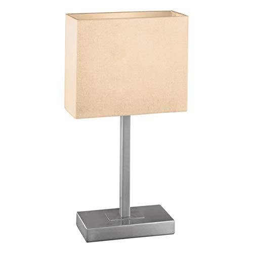 Eglo 87598 - Lampe de Table Modèle Pueblo 1 en acier nickelé mat avec Abat-jour en Tissu Blanc, HV 1 x E14 max. 60W, fonction Tactile, Ampoule non incluse, 26 x 10 x 48 cm, Culot 20 x 10 cm