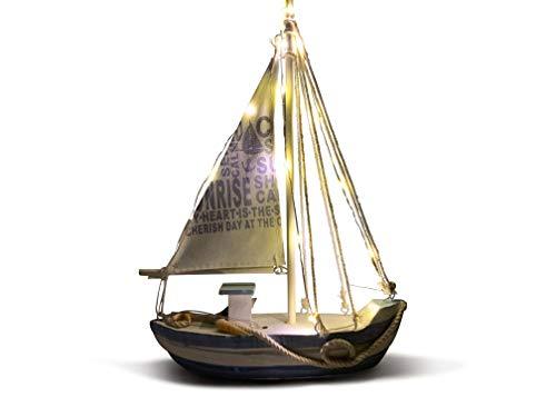 ReWu Holzschiff, Segelschiff aus Holz mit LED Beleuchtung WarmWeiß, Maritime Dekoration 21,5 x 28 cm, Dekoartikel Weiß