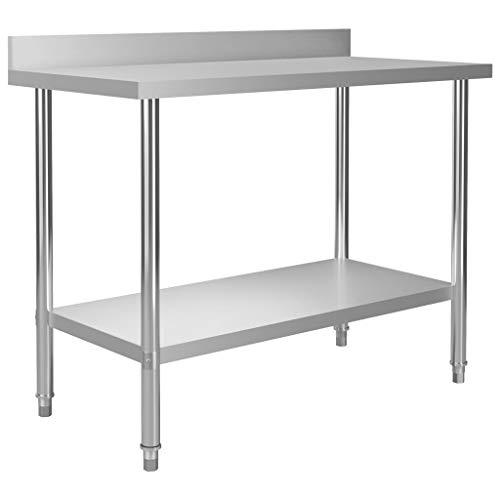 vidaXL Küche Arbeitstisch mit Aufkantung Verstellbare Füße Gastronomie Gastro Edelstahltisch Küchentisch Zerlegetisch Tisch 120x60x93cm Edelstahl