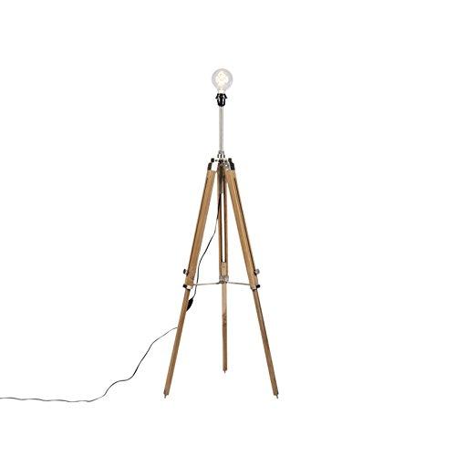 QAZQA Landelijke vloerlamp tripod hout met staal - Cortin Hout/Metaal Overig Geschikt voor LED Max. 1 x 40 Watt