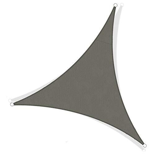 JYYnet Toldo Vela de Sombra, Triángulo 2×2×2m Toldo Vela de Sombra Prevención Rayos UV Poliéster Toldo para Terraza Exterior Jardín (2×2×2m, Gris Ahumado)