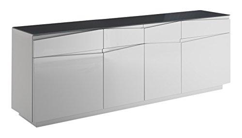 Homexperts Kommodenschrank Sharpcut-Living in Hochglanz Weiß foliertem Holz / Extra viel Stauraum / Glasauflage in Graphit-Optik / 42 x 199 x 71 cm (T x B x H)
