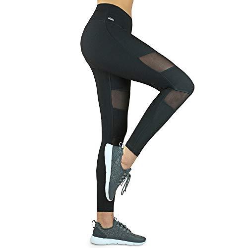 Formbelt Laufhose Leggings mit mesh und Handytasche lang- Fitness Tights Stretchhose Plus Size große größe Leggins hoher Bund bequem schlank für Smartphone iPhone Handy Netzstoff schwarz XL