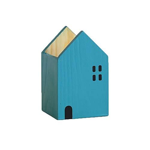 N\A Taza de lápiz del Titular de la Pluma 1 unids Casa Forma de Madera Lápiz de Madera Pendiente de la Pluma Organizador de Escritorio Contenedor Potencia de papelería (Color : Blue S)
