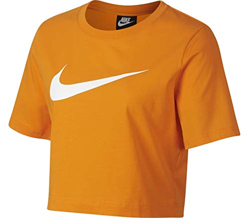 NIKE W NSW SWSH Top SS - Camiseta, Mujer, Multicolor(Orange Peel/Orange Peel/White)