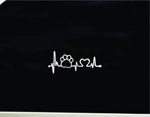 Lplpol - Adhesivo de vinilo antipolvo, diseño de huella de corazón con texto en inglés 'Love Dog, Love Dog, Love Dog, Love Dog, calcomanía para coche, calcomanía para ordenador portátil, ventana de coche, para el amante de los perros, 15,24 cm