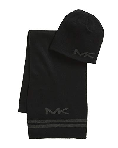 Michael Kors Men's 2-Piece Scarf & Reversible Beanie Set, Black/Grey