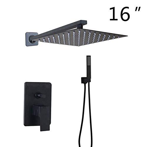 NGHXZ Douchekraan, set met waterkraan, LED, zwart, 3 functies, 8 12 16 mengkraan, douchekop met LED met kraan, doucheset, 16 inch