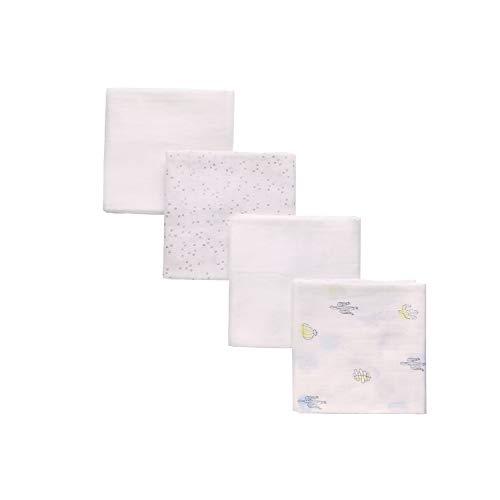 4er Pack Baby Mullwindeln Spucktücher, 80x80cm Mulltücher aus 100% Baumwolle OEKO-TEX Zertifizierte Stoffwindeln als Fütterungstuch Babyhandtuch Wickeltuch Stilltuch Spucktuch(Neutral-1)