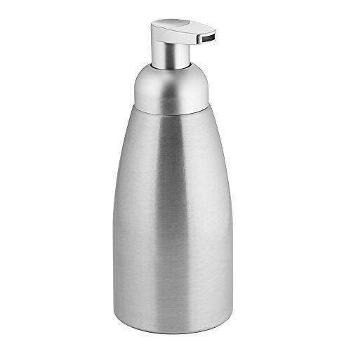InterDesign Metro Dispensador de Espuma de jabón, dosificador de jabón líquido Extra Grande de Aluminio y plástico, Plateado Mate