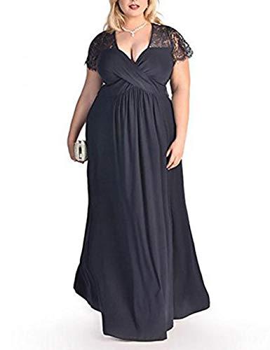 FeelinGirl Damen Plus Size Große Größen Elegantes Langes Spitzenkleid Cocktailkleid Abendkleid Hochzeit Brautkleid mit Kurz Ärmel O-Ausschnitt Blumensptizen,Dunkelblau,XXL (EU 58-60)