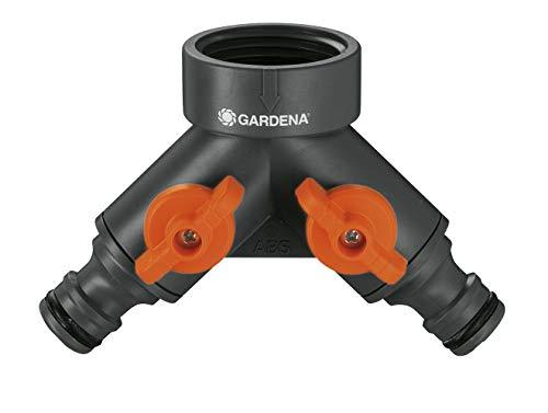 Gardena 2-Wege-Ventil: Wasserverteiler für Wasserhahn mit 26.5 mm (G 3/4 Zoll) Gewinde, für gleichzeitigen Anschluss von zwei Geräten, beide Ausgänge regulierbar (938-20)