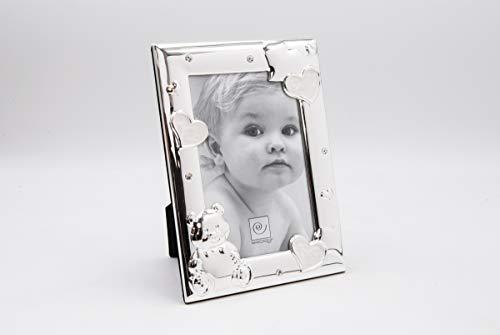 Mascagni 2GA M867 Bilderrahmen Bebé mit Emaille und Kristallen, Metall, silberfarben, 10 x 15