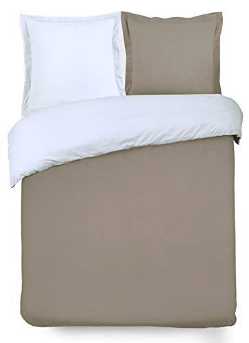 VISION Parure de couette 100% coton - 1 housse de couette 240x260 cm + 2 taies 65x65 cm taupe et blanc