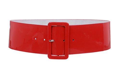beltiscool Damen-Taillengürtel, Leder, quadratisch Gr. L/XL - 40, rot