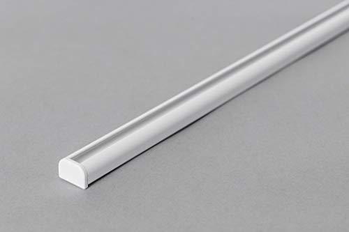 Rollmayer Aluminium Gardinenschiene Mini im Weiß mit Deckenbefestigung (nur Gardinenschiene, 180cm) glänzend 1-läufig Vorhangschiene Innenlaufschiene für Schiebevorhänge, Gardinen und Vorhänge