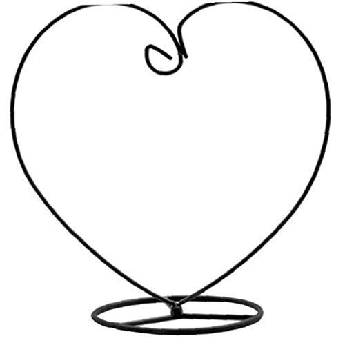 LAANCOO Planta de aire ornamento del soporte de exhibición en Forma de corazón del soporte del soporte del Hierro garabato para colgar terrario de Cristal Negro