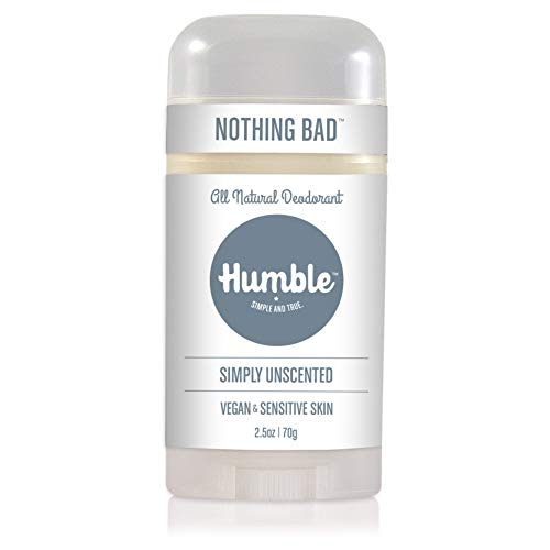 Humble Brands All Natural Vegan Aluminum Free Deodorant Stick for Sensitive Skin, Lasts All Day, Safe, and Certified Cruelty Free, Simply Unscented, Pack of 1