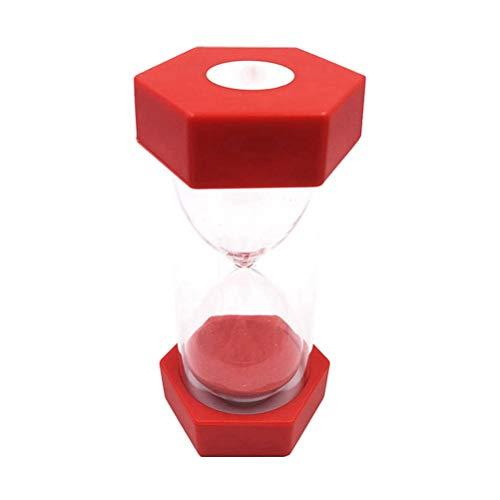 Artibetter 3Min Hexagon sablier horloge de sable minuteries décoration de la maison créative pour les enfants se brosser les dents salle de jeux bureau bureau cuisson (rouge)