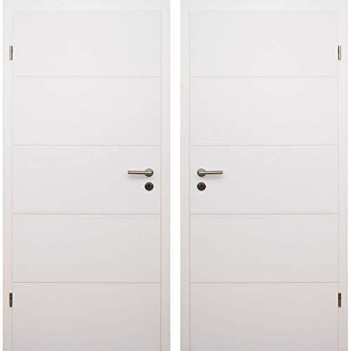 HORI Zimmertür Komplettset mit Zarge und Türdrücker I Innentür weiß lackiert mit 4 Querfräsungen I vierschieden...