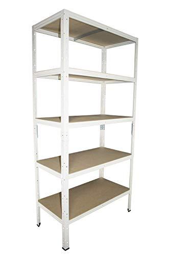 Shelf Creations Basic Schwerlastregal weiß 155 x 120 x 40 cm mit 5 Böden Stecksystem aus Metall verzinkt: Metallregal geeignet als Kellerregal, Lagerregal, Archivregal, Ordnerregal, Werkstattregal