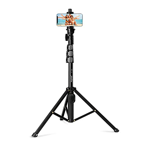 """Fugetek 51"""" Professional Selfie Stick & Tripod, Phone Holder, Extendable, Bluetooth Remote , Portable All in One, Heavy Duty Aluminum, Compatible with Apple & Android Devices, Non Skid Feet, Black"""