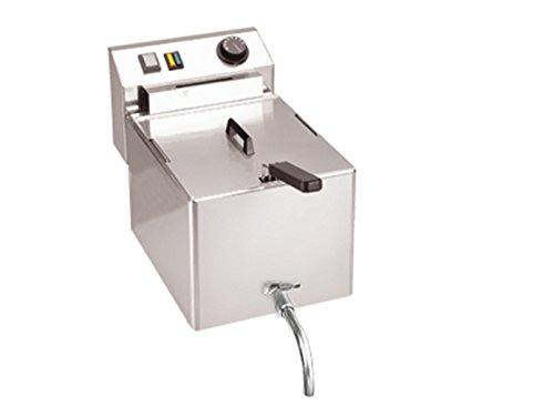 Professionele roestvrijstalen friteuse met aftapkraan, 8 liter, 3000 W, thermostaat tot 190 °C; FE-07V GGG
