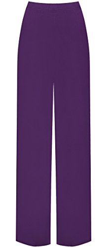 WearAll - Übergröße Damen Palazzo Weite Bein Hosen - Violett - 40-42