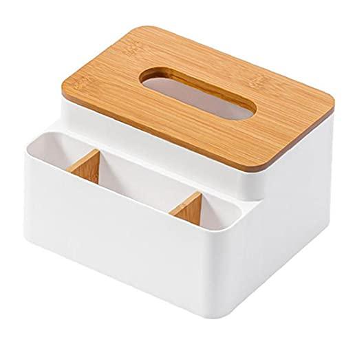 lujiaoshout Titular de la Hoja de la Caja de almacenaje de Escritorio de la servilleta del dispensador de bambú Organizador Tapa del Recipiente Negro, Cocina Gadget